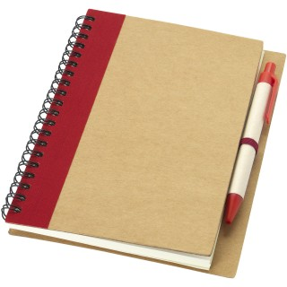Priestly recycled notebook with pen, natural,red