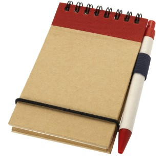 Zuse A7 recycled jotter notepad with pen, natural,red