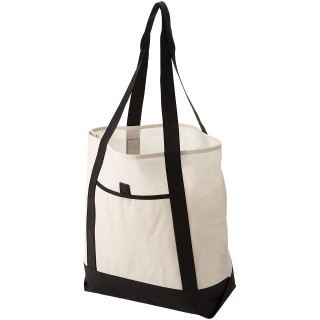 Lighthouse non-woven tote bag, solid black,off-white