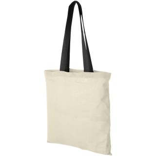 Nevada 100 g/m² cotton tote bag with coloured handles, natural, solid black