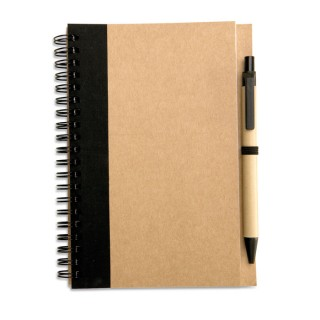 Recycled paper notebook + pen 'Sonora Plus', black