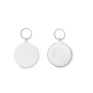 Pin button key ring 'Pin Ring', white