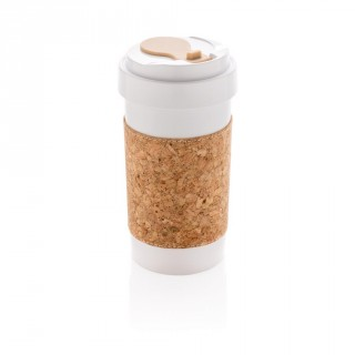 ECO PLA 400ml can with cork sleeve, white