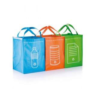 3pcs recycle waste bags, green